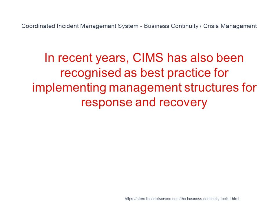 Coordinated Incident Management System - Business Continuity / Crisis Management