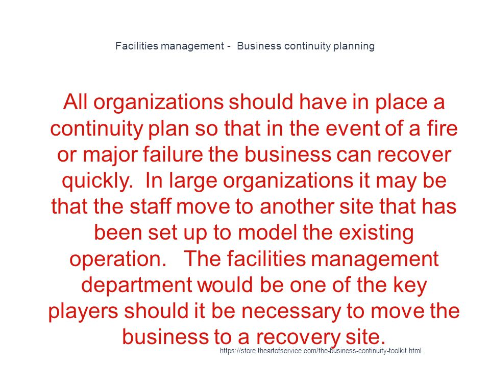 Facilities management - Business continuity planning