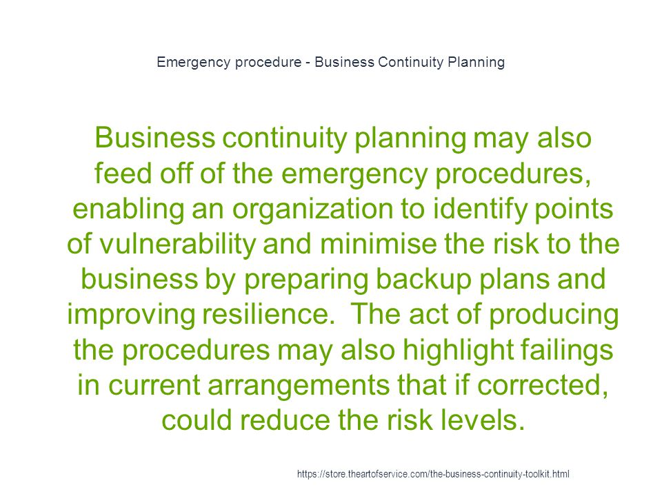 Emergency procedure - Business Continuity Planning