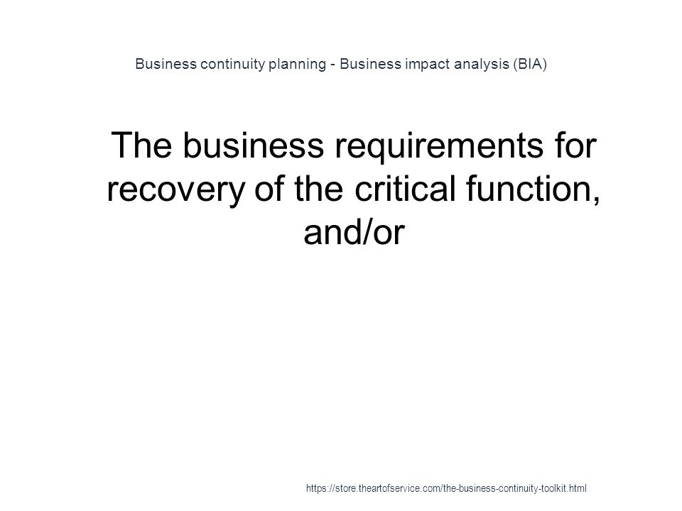 Business continuity planning - Business impact analysis (BIA)