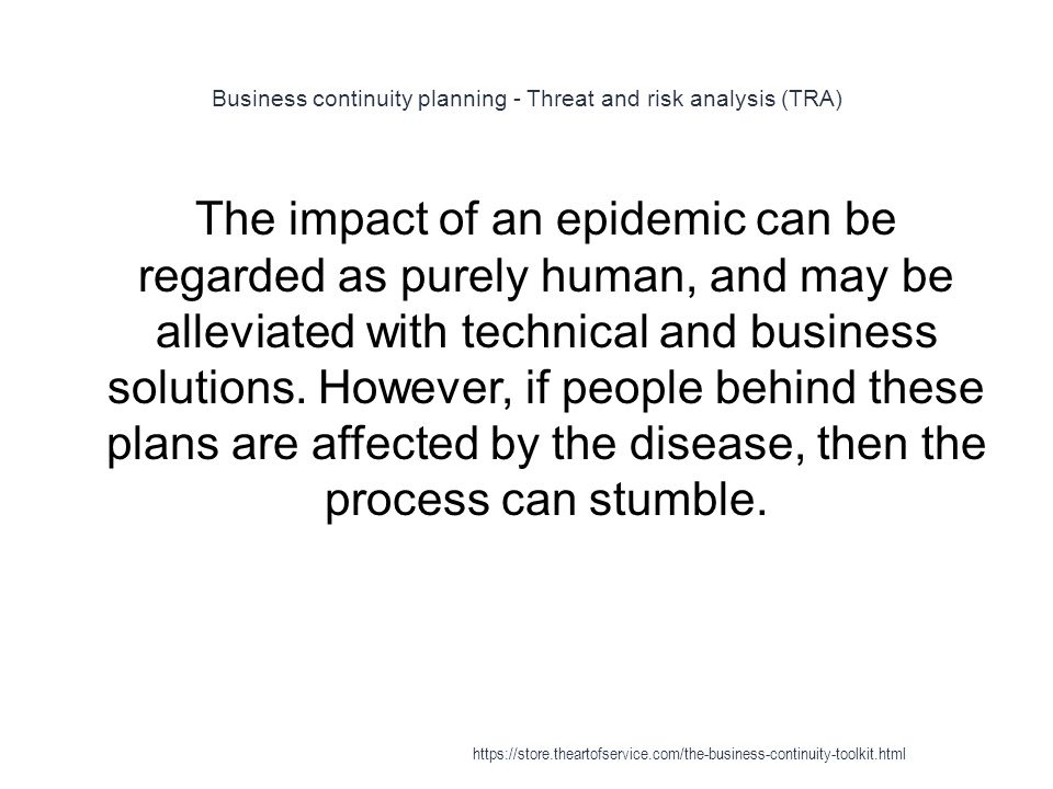 Business continuity planning - Threat and risk analysis (TRA)