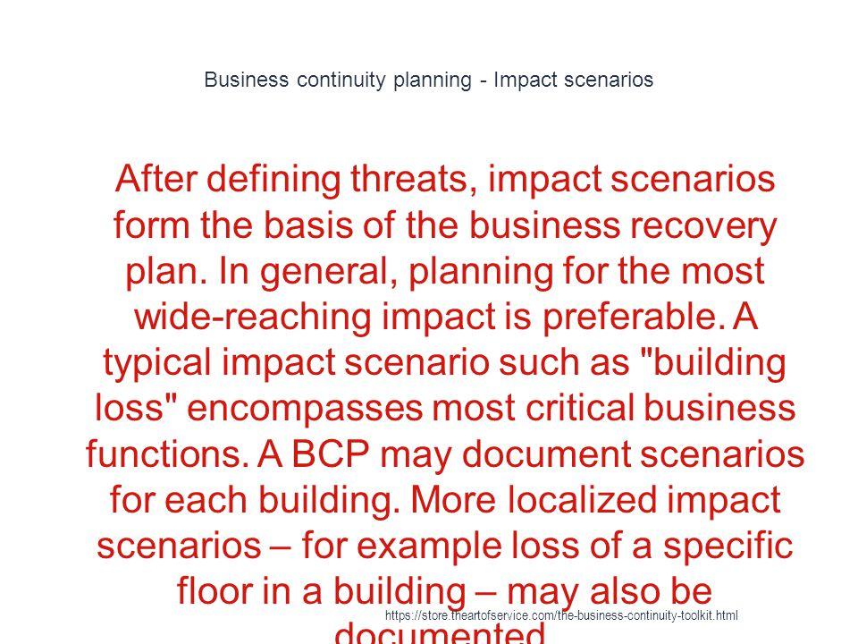 Business continuity planning - Impact scenarios