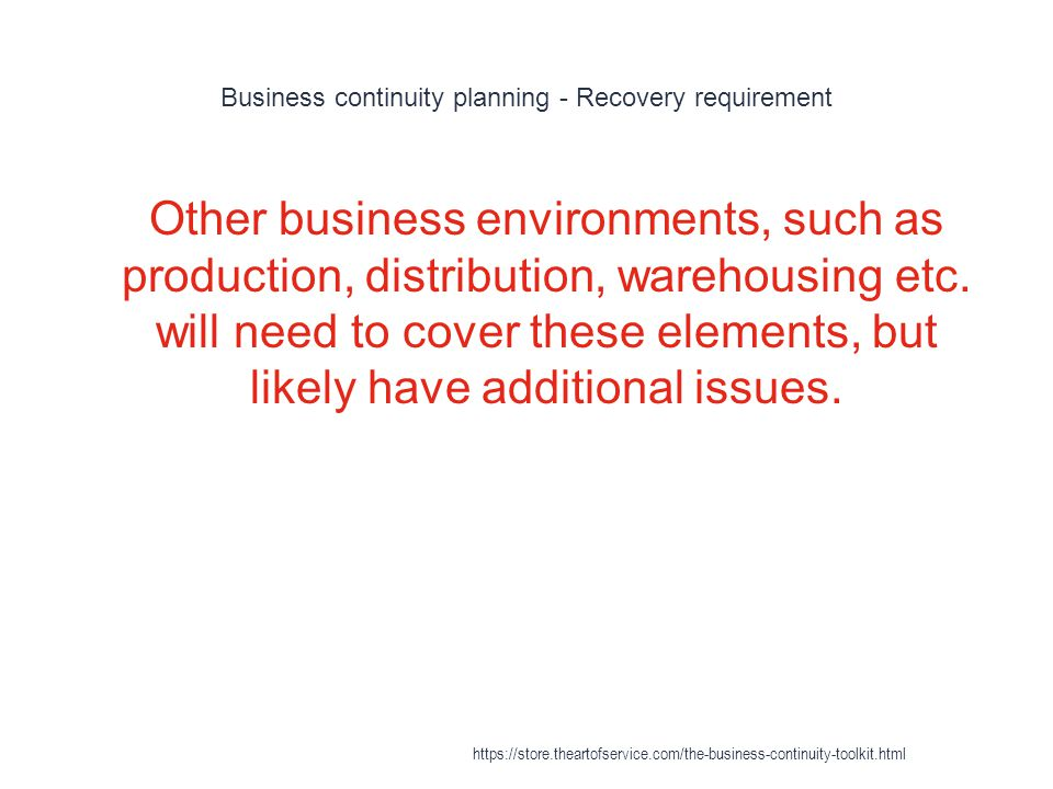 Business continuity planning - Recovery requirement