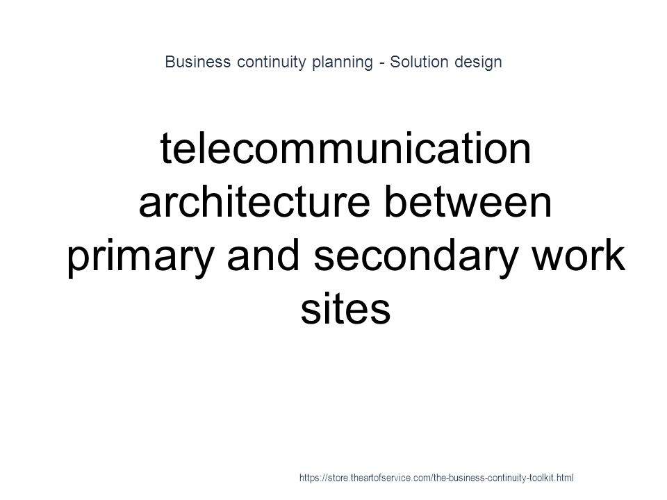 Business continuity planning - Solution design