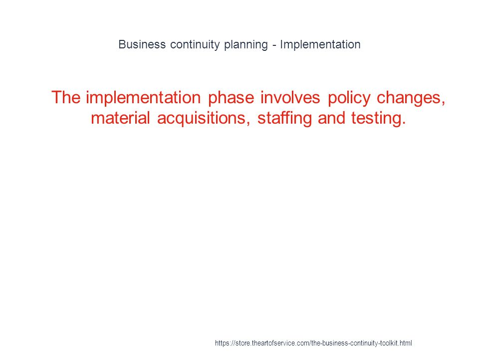 Business continuity planning - Implementation