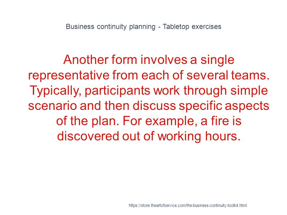 Business continuity planning - Tabletop exercises