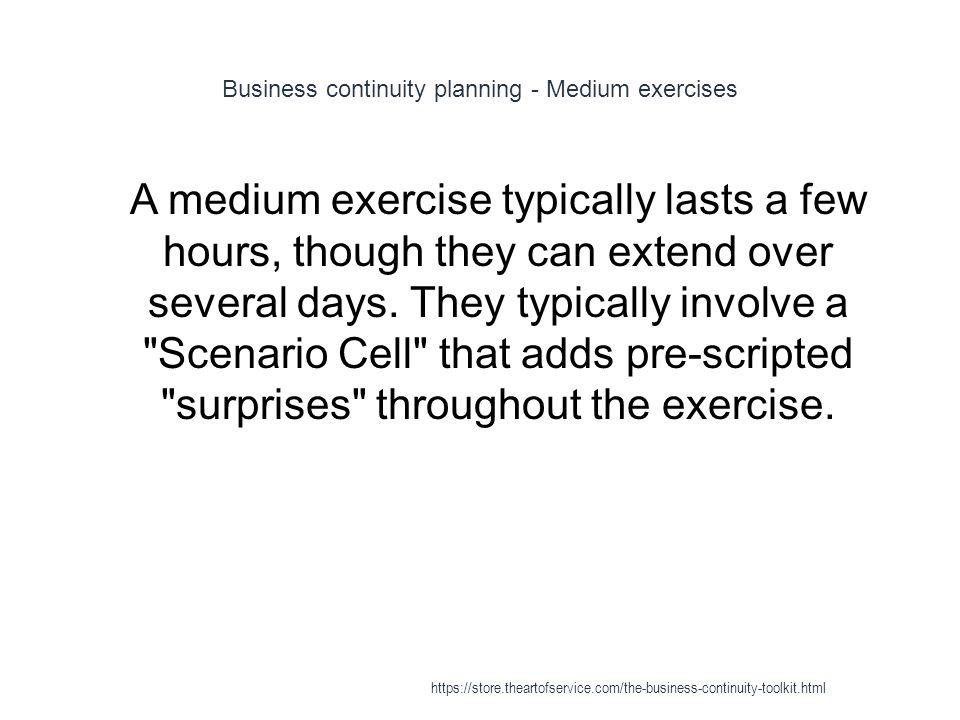 Business continuity planning - Medium exercises