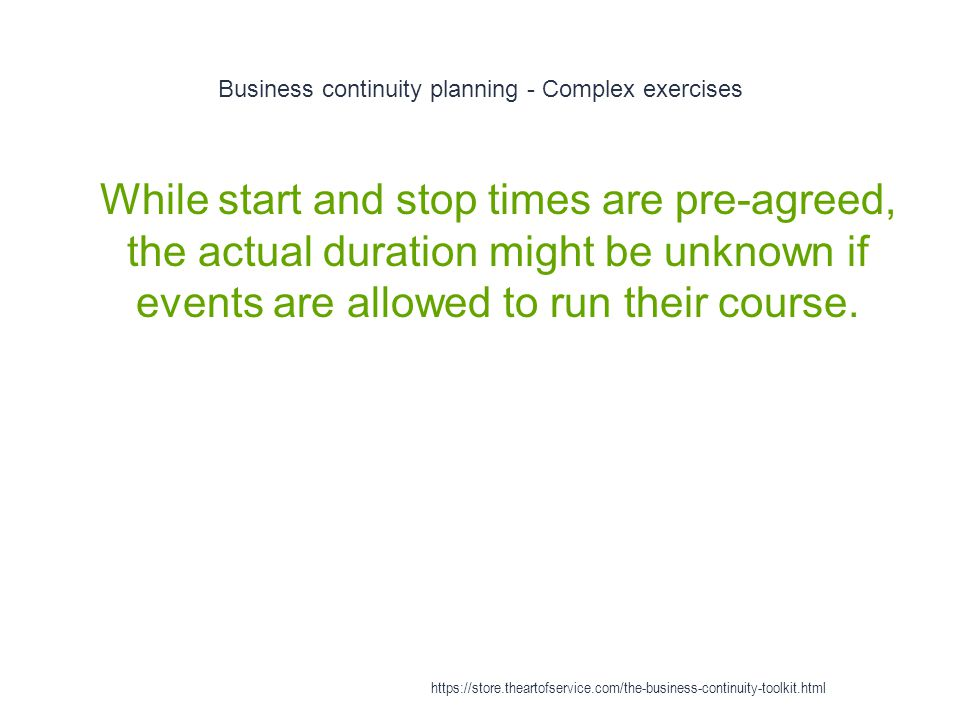 Business continuity planning - Complex exercises