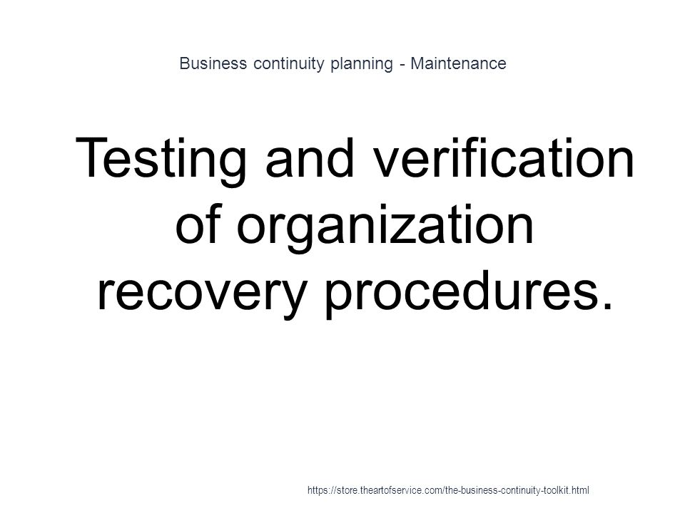 Business continuity planning - Maintenance