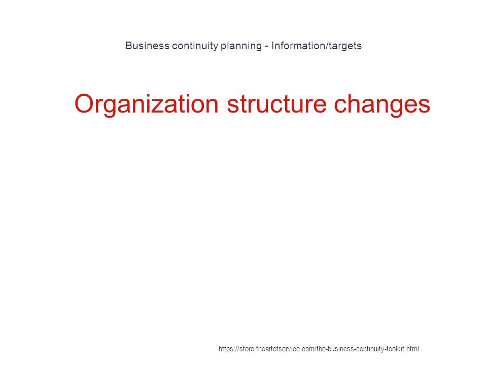 Business continuity planning - Information/targets