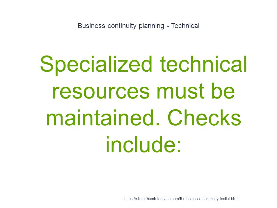 Business continuity planning - Technical