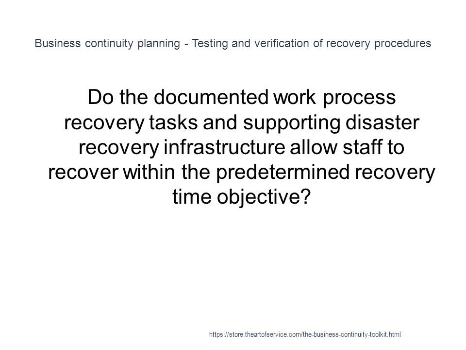 Business continuity planning - Testing and verification of recovery procedures