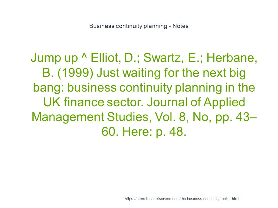Business continuity planning - Notes
