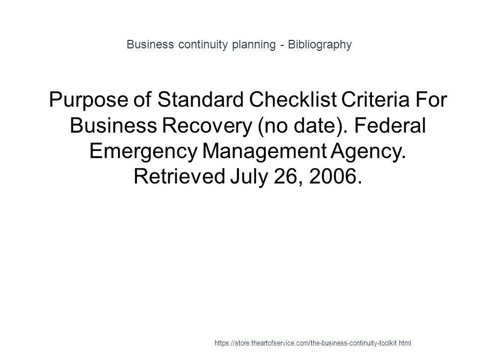 Business continuity planning - Bibliography