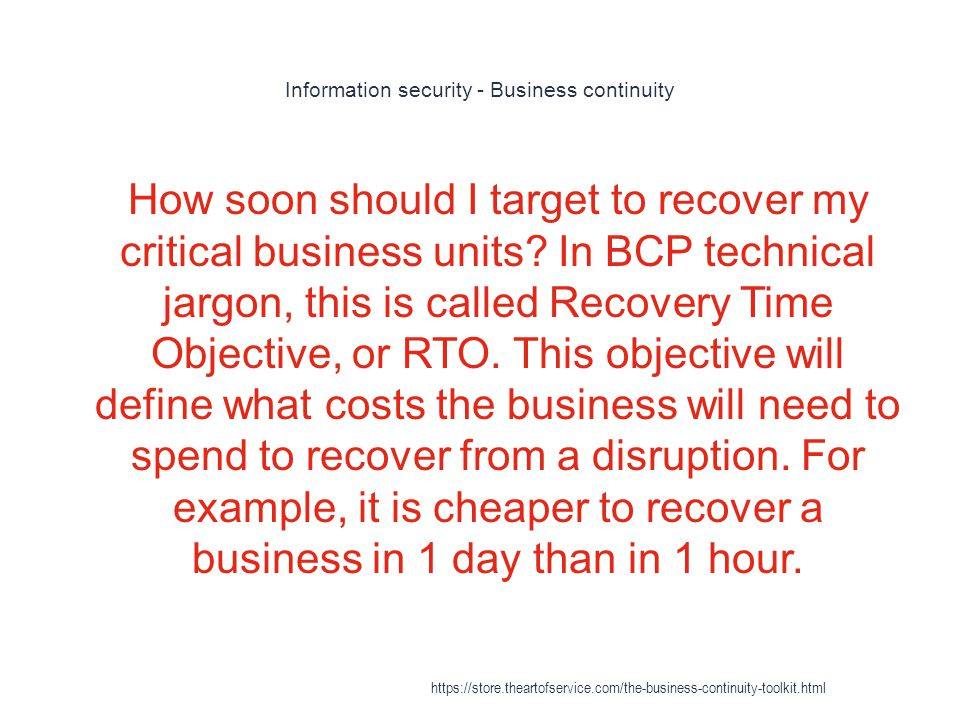 Information security - Business continuity