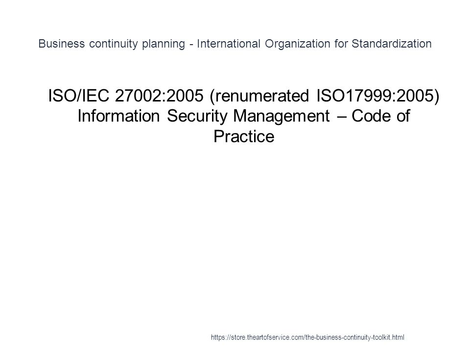 Business continuity planning - International Organization for Standardization