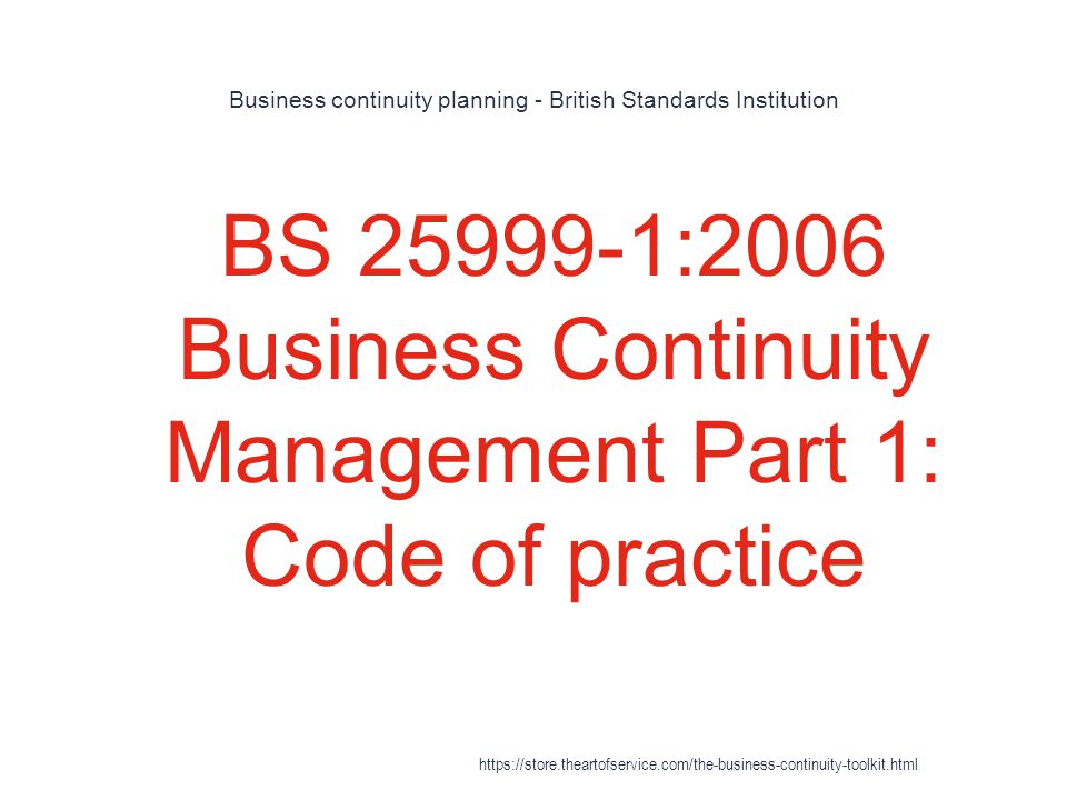 Business continuity planning - British Standards Institution