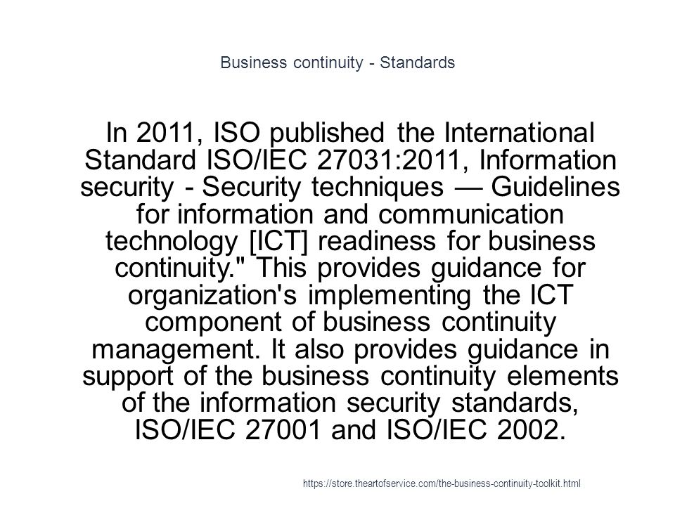 Business continuity - Standards