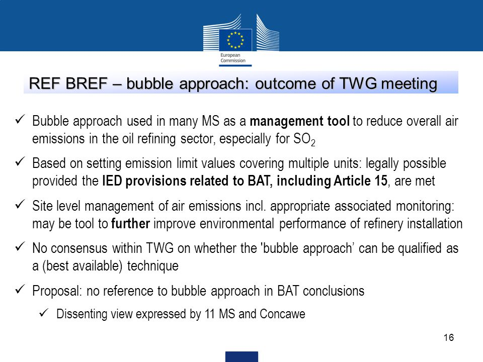REF BREF – bubble approach: outcome of TWG meeting