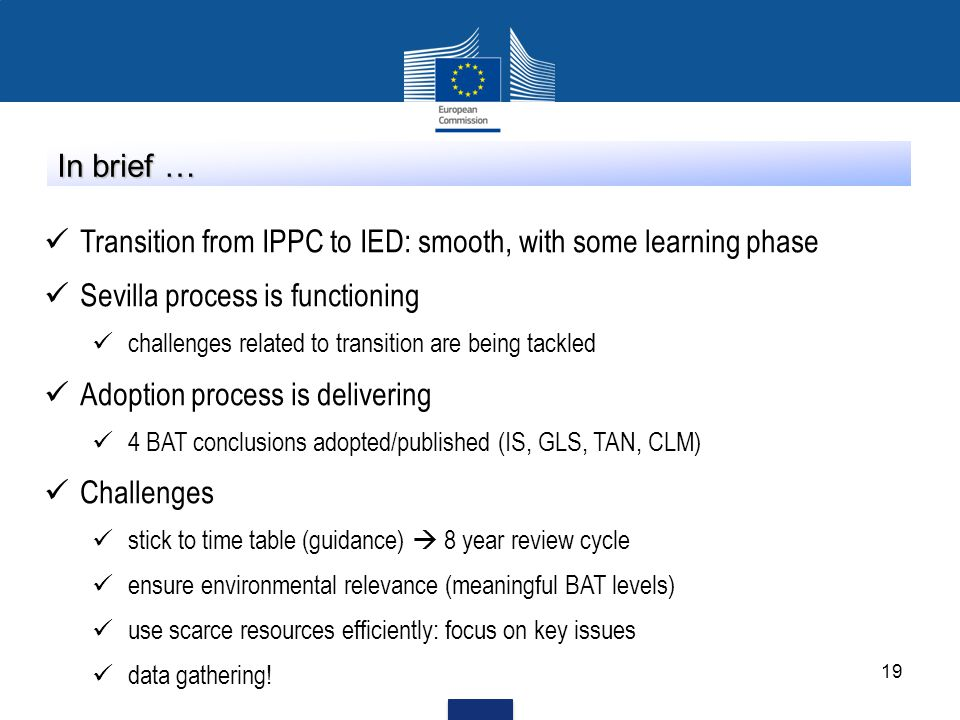 Transition from IPPC to IED: smooth, with some learning phase