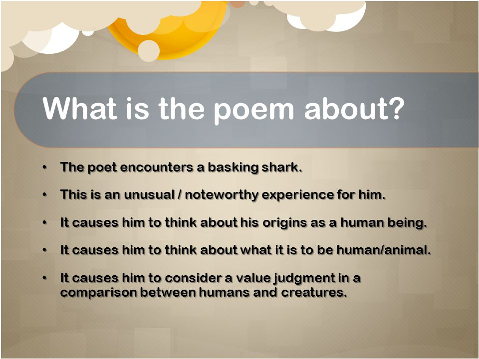 What is the poem about The poet encounters a basking shark.