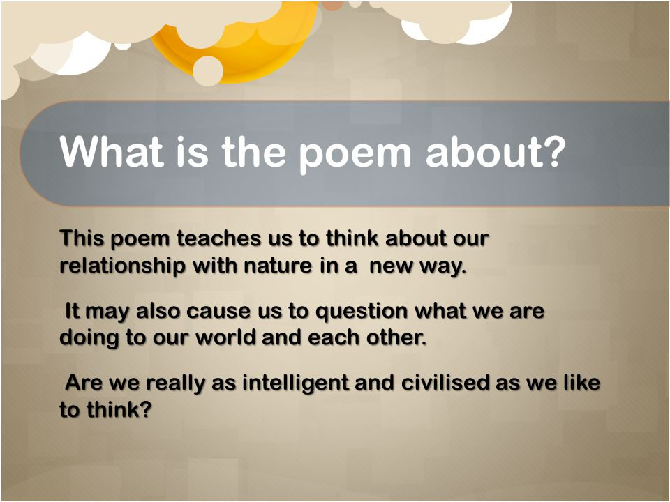 What is the poem about