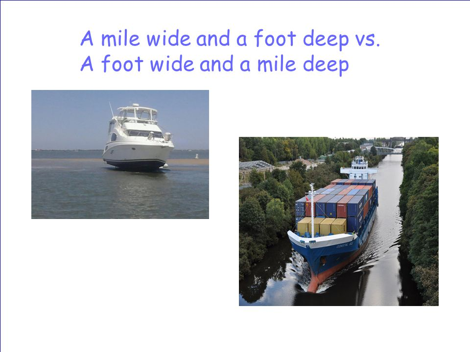 A mile wide and a foot deep vs. A foot wide and a mile deep