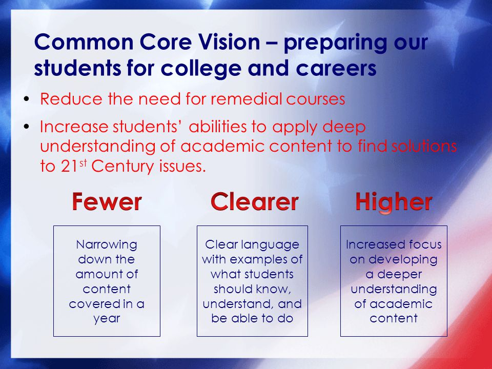 Common Core Vision – preparing our students for college and careers