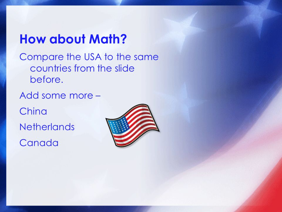 How about Math Compare the USA to the same countries from the slide before. Add some more – China Netherlands Canada