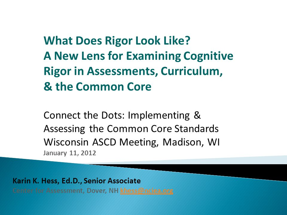 What Does Rigor Look Like