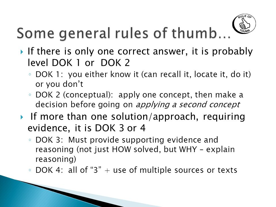 Some general rules of thumb…