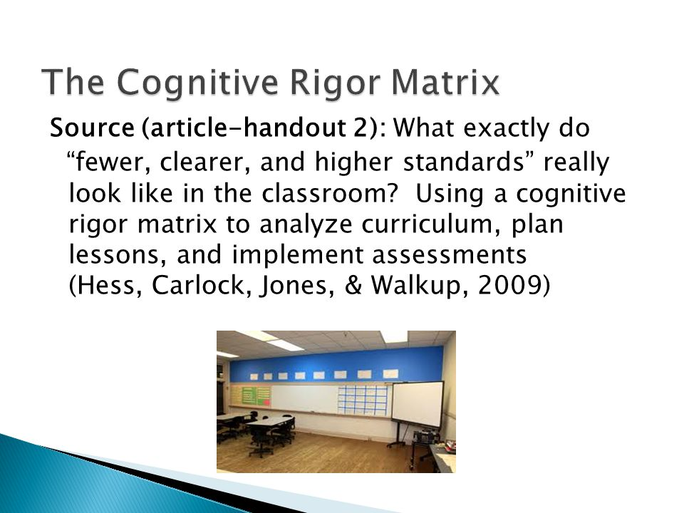 The Cognitive Rigor Matrix