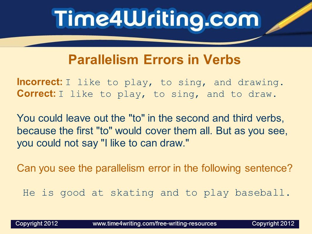 Parallelism Errors in Verbs