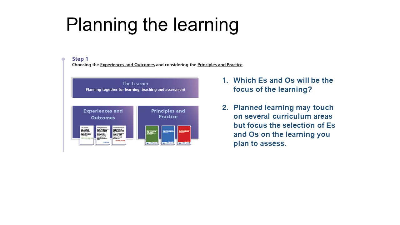 Planning the learning Which Es and Os will be the focus of the learning