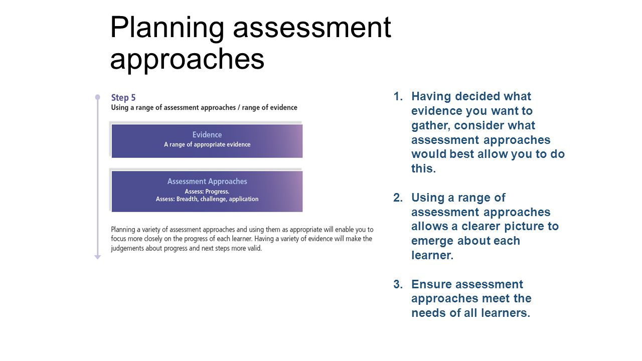 Planning assessment approaches