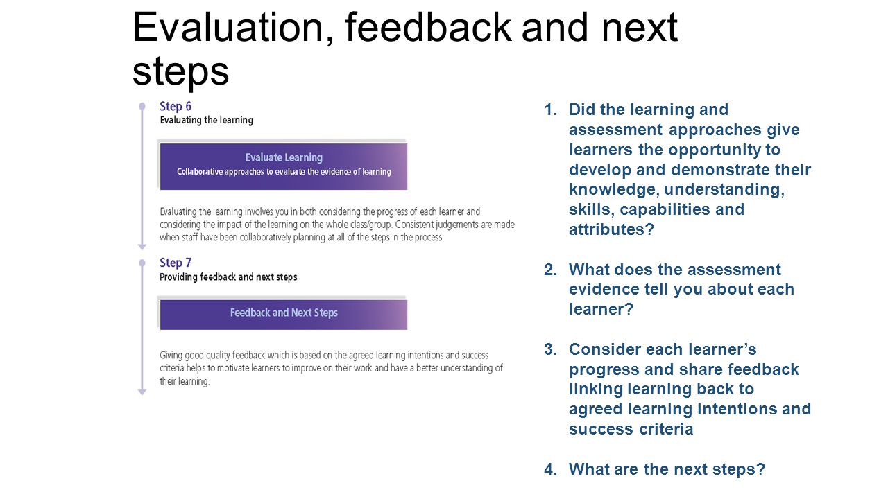 Evaluation, feedback and next steps