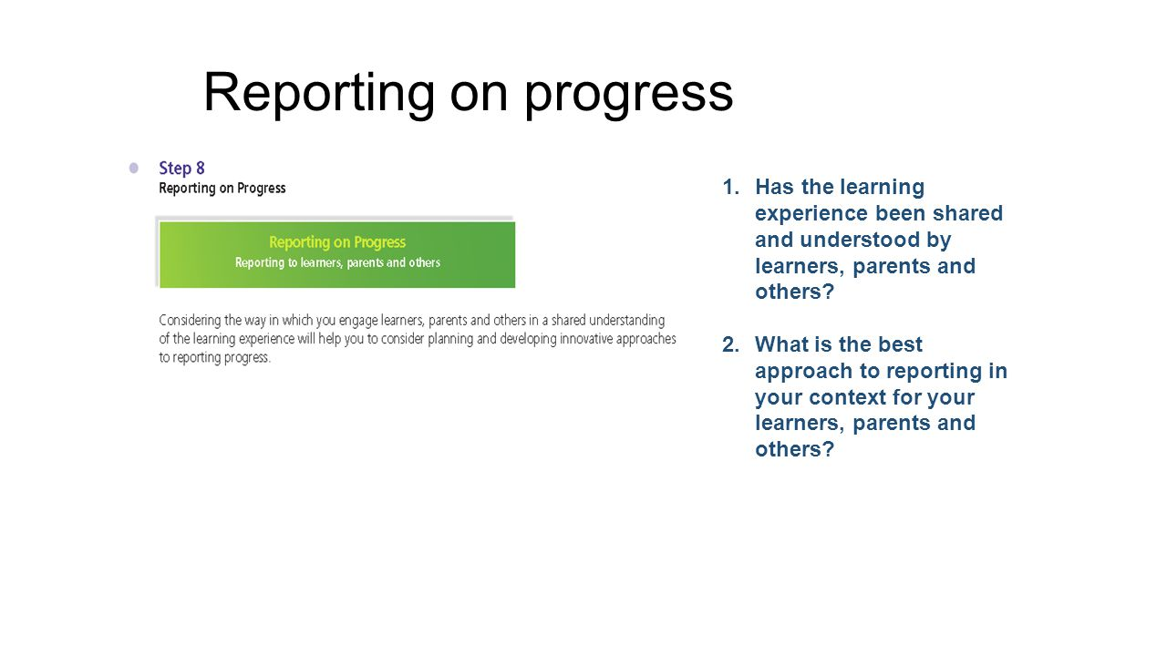 Reporting on progress Has the learning experience been shared and understood by learners, parents and others