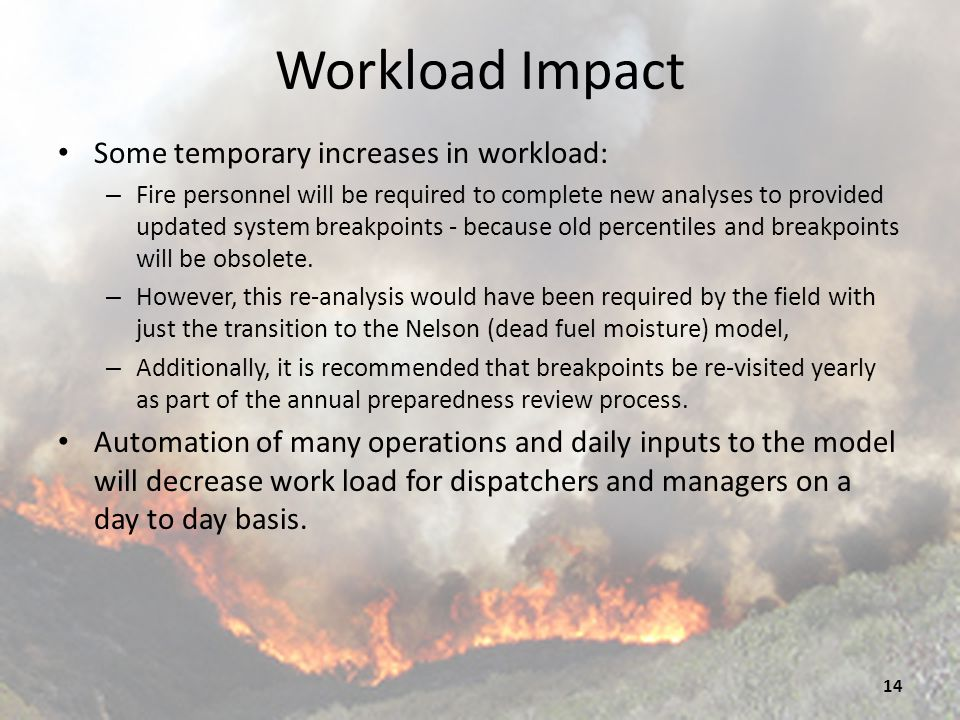 Workload Impact Some temporary increases in workload: