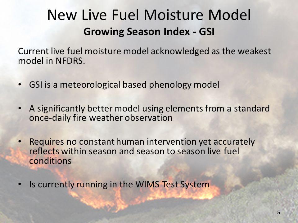 New Live Fuel Moisture Model Growing Season Index - GSI