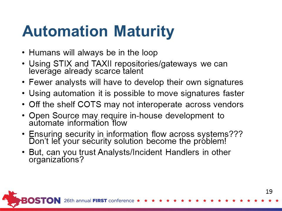 Automation Maturity Humans will always be in the loop