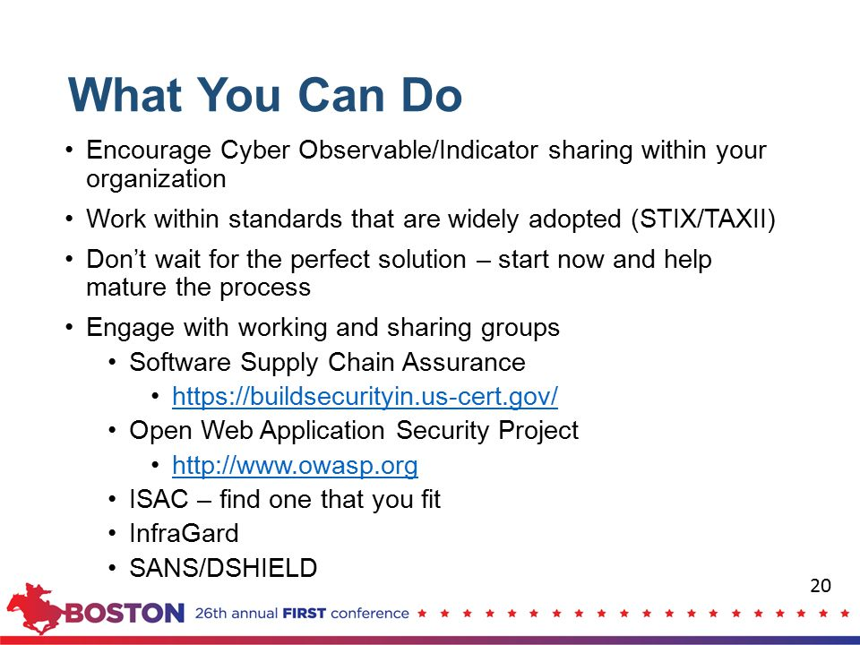 What You Can Do Encourage Cyber Observable/Indicator sharing within your organization. Work within standards that are widely adopted (STIX/TAXII)