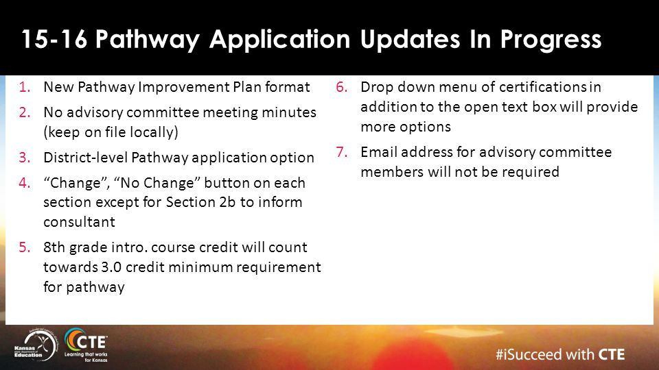 15-16 Pathway Application Updates In Progress