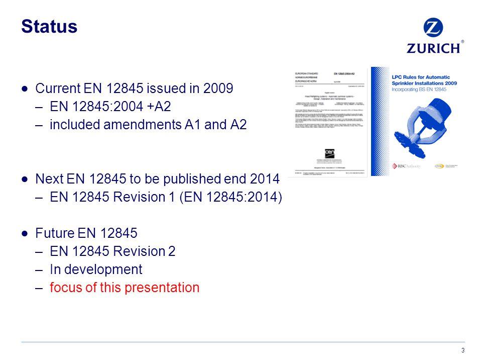Status Current EN 12845 issued in 2009 EN 12845:2004 +A2
