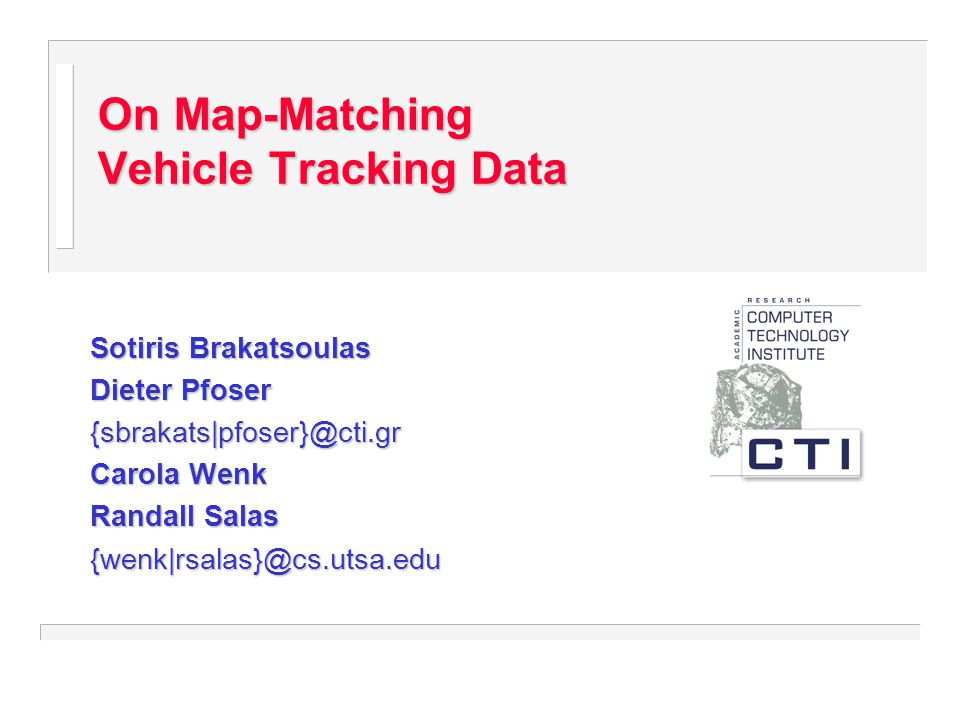 On Map-Matching Vehicle Tracking Data