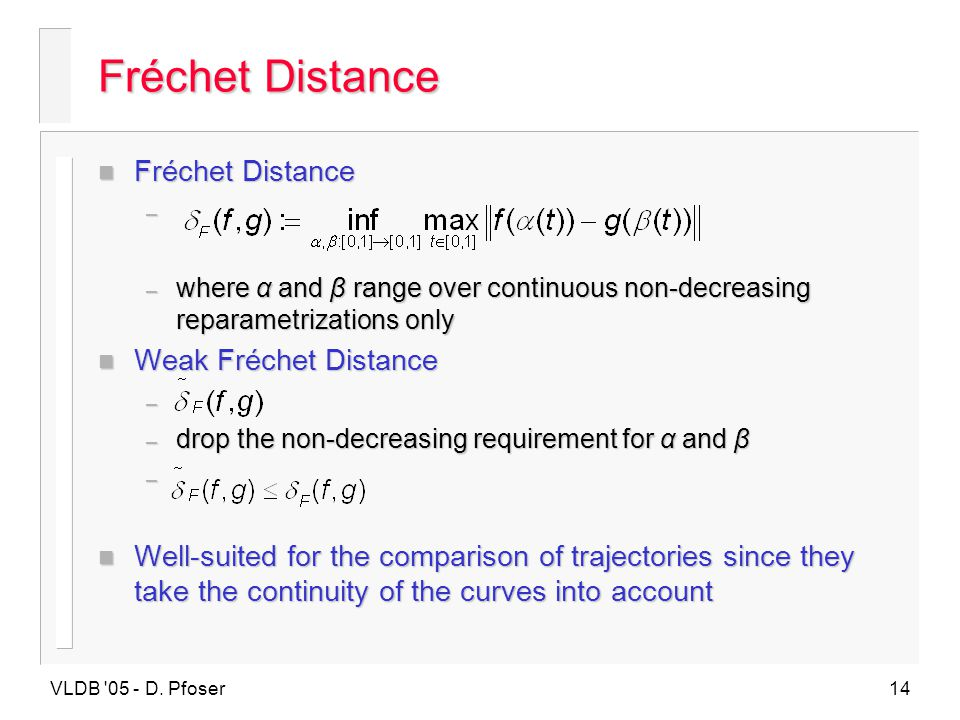 Fréchet Distance Fréchet Distance Weak Fréchet Distance