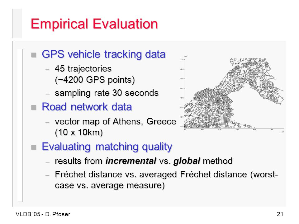 Empirical Evaluation GPS vehicle tracking data Road network data