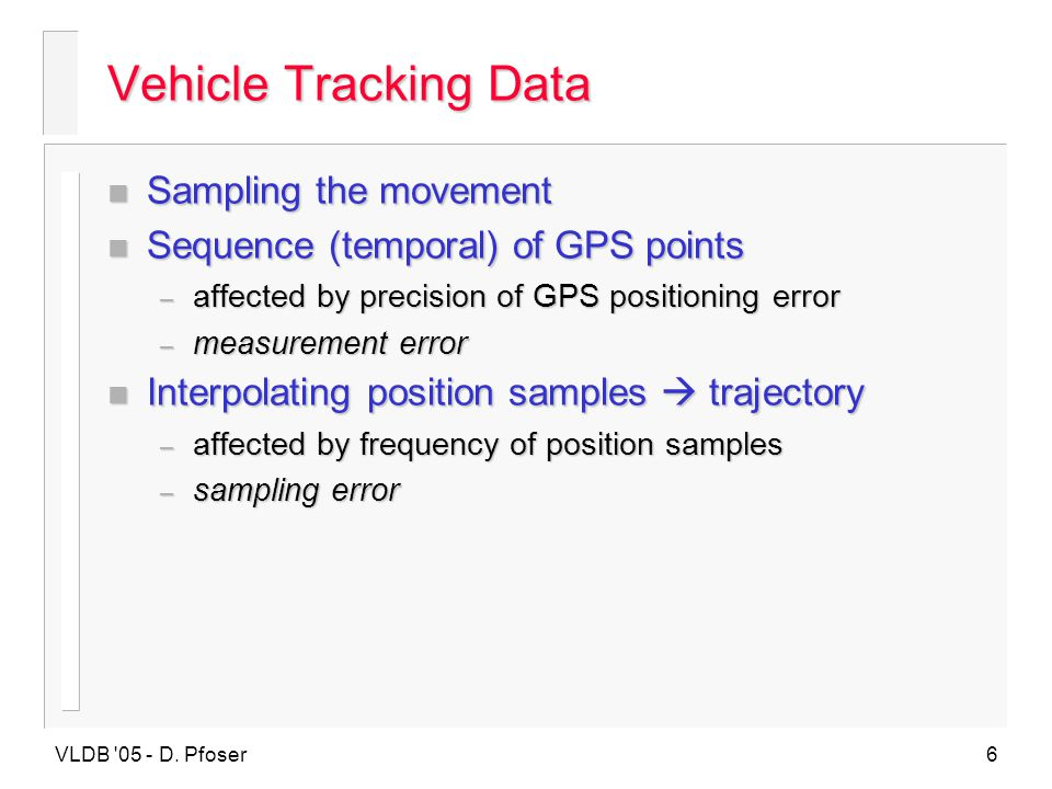 Vehicle Tracking Data Sampling the movement