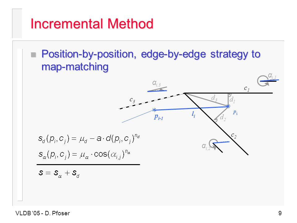 Incremental Method Position-by-position, edge-by-edge strategy to map-matching. α. i,3. i,1. i,2.