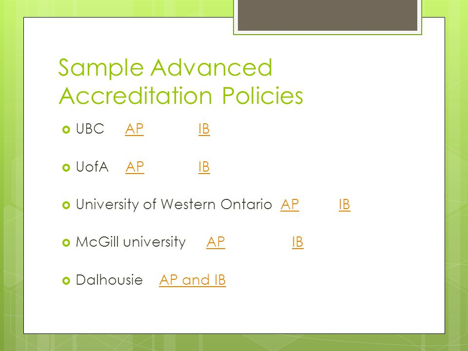 Sample Advanced Accreditation Policies