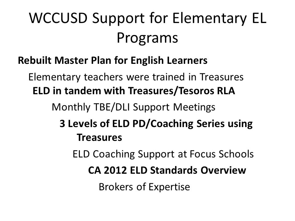 WCCUSD Support for Elementary EL Programs